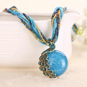 Bohemian Peacock with Rhinestone Gem Pendant - Gem & Etc