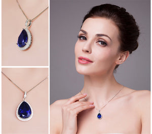 Beautiful Sapphire 925 Sterling Silver Necklace. Pendant In Water Drop Shape. - Gem & Etc