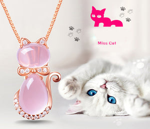 Cute Cat Necklace in Rose Gold with Pink Opal - Gem & Etc