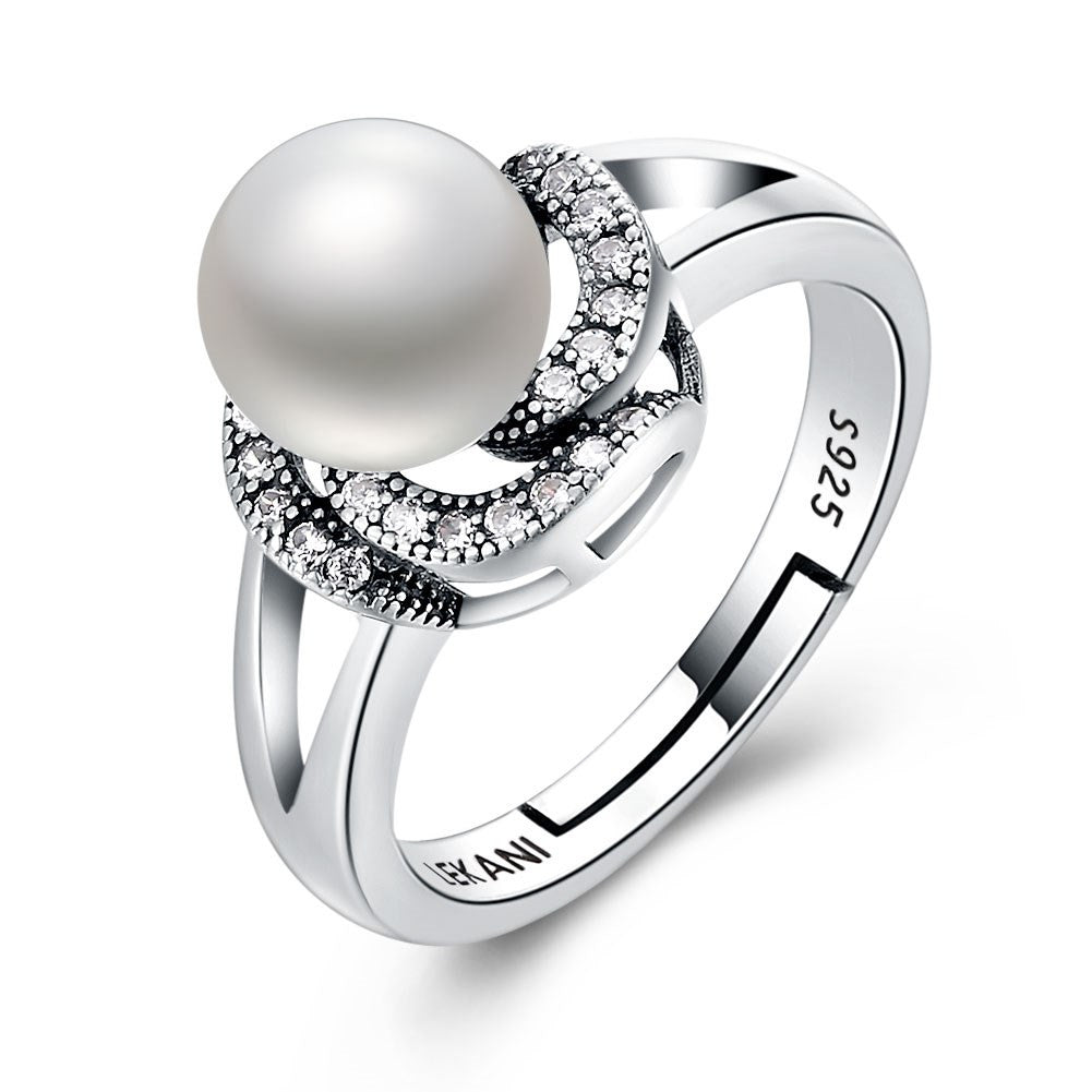 Sterling silver ring with a simulated pearl in a stylish  flower - Gem & Etc
