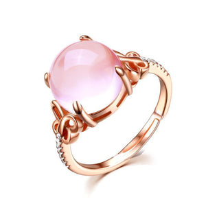 Love Enchantment. Fashion Ring in Cubic Zirconia and Opal Rose Gold with the detail of Stylized Butterfly. - Gem & Etc