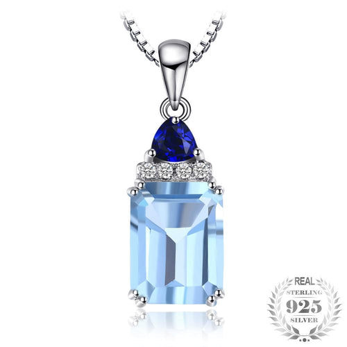 Necklace with blue topaz in 925 silver - Gem & Etc