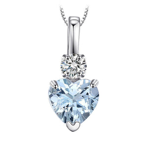 Love Heart with 0.7 Carats. Natural Aquamarine and White Topaz Necklace in Sterling Silver - Gem & Etc