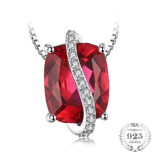 Beautiful 925 Sterling Silver Ruby Necklace - Gem & Etc