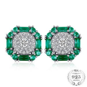 Gorgeous 925 Sterling Silver Earrings With Emerald - Gem & Etc
