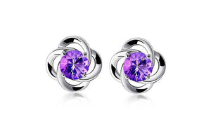 Women's Lucky Clover 925 Sterling Silver Stud Earrings with Rhinestone - Gem & Etc