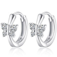 Women's 925 Silver Cute Zircon Butterfly Ear Clip Cuff Ear Stud Earrings - Gem & Etc