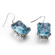 Vintage 925 Sterling  Aquamarine Dangles Earrings For Women - Gem & Etc