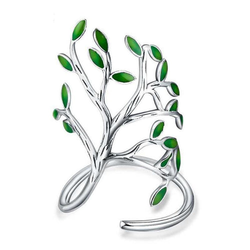 Creative Leaves Ring in Sterling Silver with crystals - Gem & Etc