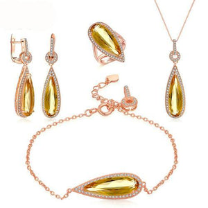 Luxury Pear Citrine Gemstone Sets in Sterling Silver - Gem & Etc
