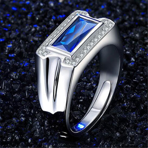 Ring in Sterling Silver 925 with Sapphire for Men - Gem & Etc