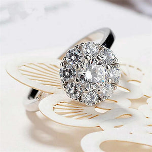 Ring with a rotating Zircon rock in Silver 925 Rings for Women - Gem & Etc