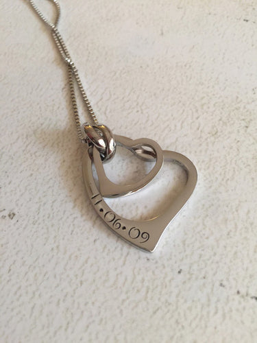 Hand stamped necklace - Stainless steel heart -