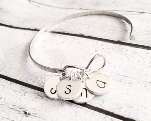 Infinity bracelet - Hand stamped infinity bangle -