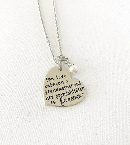 Gift for grandmother - grandmother necklace - hand