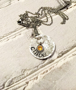 Name necklace - Hand stamped jewelry - Hand