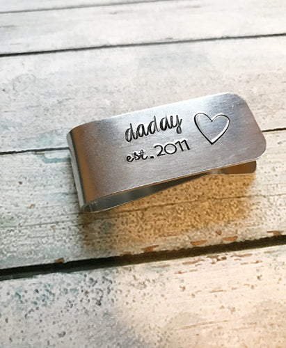 Money clip - hand stamped money clip - gift for