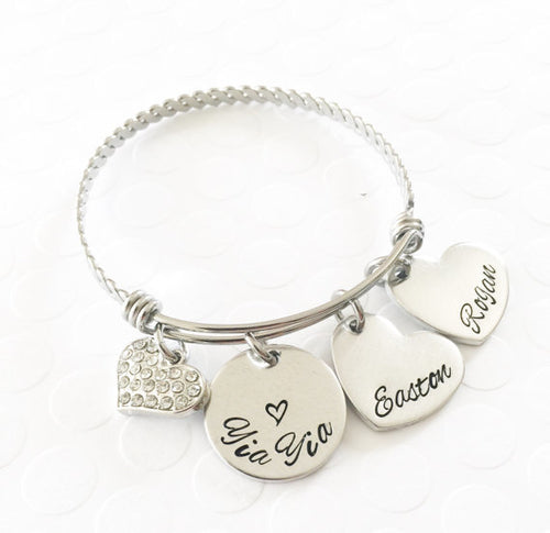 Hand stamped bracelet- Mother's jewelry -