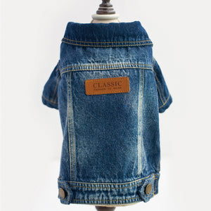 Classic Spring and Summer thin boy male small dog clothes pet jacket Water washing jean old cool two legs dog coat pet clothing
