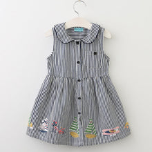 Load image into Gallery viewer, Bear Leader Girls Dress 2017 New Summer Style Brand Kids Dress Peter pan Collar Sleeveless Striped Pattern Pring for Baby Dress