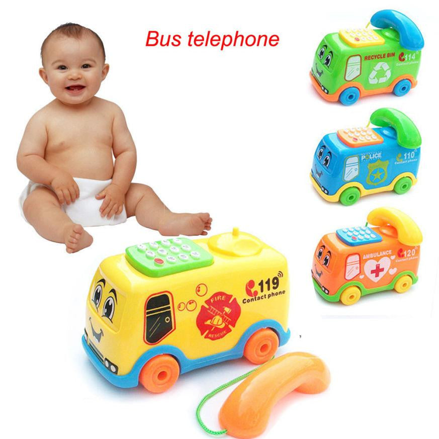 2017 Baby Toys Music Cartoon Bus Phone Educational Developmental Kids Toy Gift New Model toy vehicle car toys for children kids