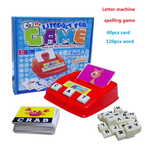 English Word Learning Machine Puzzle Toy Letters machine Card spelling Game Educational Toys for kids Literacy Game Cards