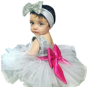 Children Girls Dress Sequined Bow Ball Gown Tulle Headband Party Girl Dresses