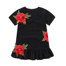 Load image into Gallery viewer, Baby Girls clothing Kids Princess Dresses Floral Rose Party Dress Children Clothing Summer Black Dress Toddler bebe clothes 1-5y