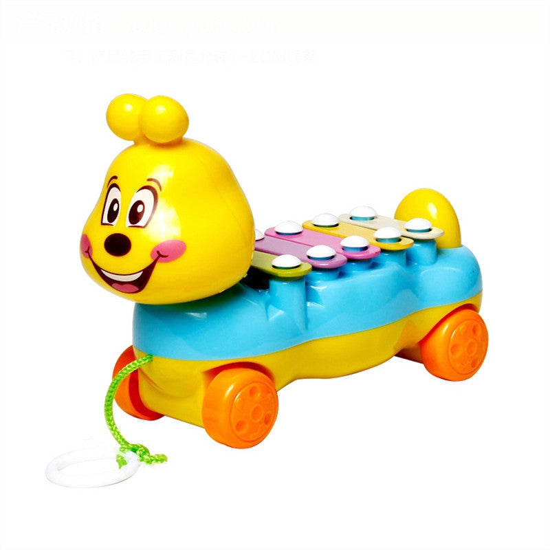 Cartoon Caterpillar Hand Knock Xylophone Glockenspiel with 5 Scales Kids Infants Musical Educational Toy Drawable Car