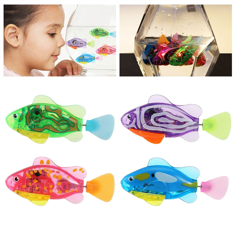 TOYMYTOY 4pcs Robot Fish Swimming Diving Electric Turbot Clownfish Battery Powered Robo Fish Toy Childen Kids Robotic Gift