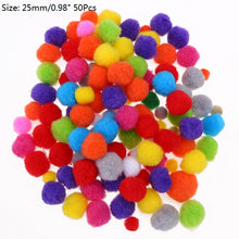 Load image into Gallery viewer, 100-500Pcs Mixed Color Size Pom Balls 10mm 15mm 20mm 25mm 30mm Pompom Soft Pon Pom Balls Furball for DIY Kids Toys