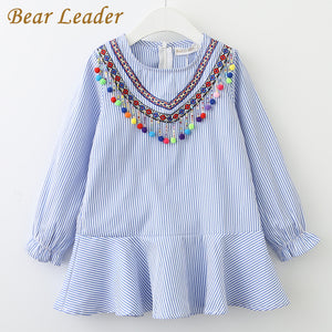 Bear Leader Girls Dress 2018 New Brand Spring Tassel Dress for Girl Striped Robe Fille Ruffles Full Petal Sleeve Kids Clothing