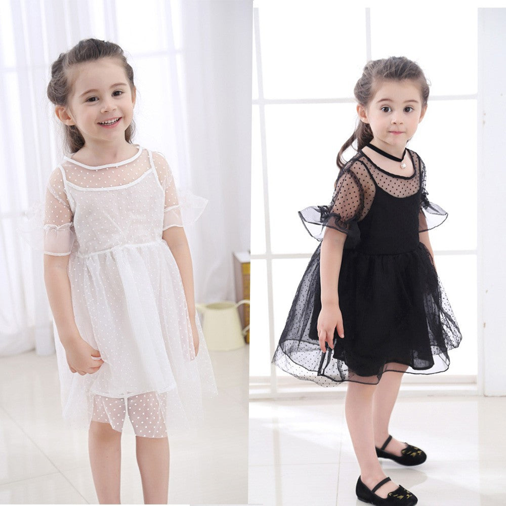 Children Infant Kid Girls Solid Dot Net Yarn Casual Princess Dress Clothes