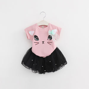 Bear Leader Girls Clothing Sets New Summer Fashion Style Cartoon Unicorn Printed T-Shirts+Net Veil Dress 2Pcs Girls Clothes Sets