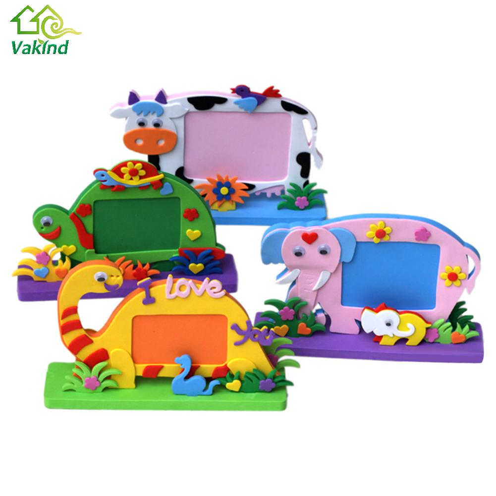 EVA Foam Cartoon Photo Frame for Kids Child DIY 3D Stickers Photo Frame Handmade Block Toy Paste Frame Craft Gifts