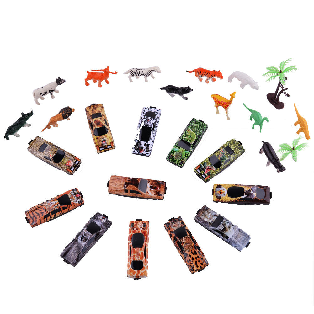Play vehicles Forest Racing Car with Animal Models for Kids