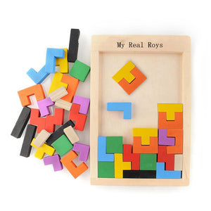 Wooden Multi-Color Tangram Tetris Toy