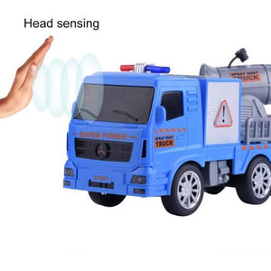 Mini Car Model Toy Sensor Dump Truck Toy Start by Waving Hands Early Learning Preschool Funny Car Model Toy with Sound for Kids Great Gift For Kids Orange Color