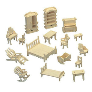 Wooden 3D Puzzle Doll House DIY Furniture Toys 34 Pieces Miniature Home Furniture Set Kids Children Education Toy