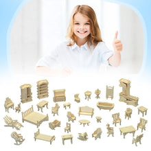 Load image into Gallery viewer, Wooden 3D Puzzle Doll House DIY Furniture Toys 34 Pieces Miniature Home Furniture Set Kids Children Education Toy