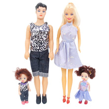 Load image into Gallery viewer, 4Pcs Baby Dolls Father+Mother+2 Kids Dress Up Kit Children Toys Kids Toys 4 People Family Dolls Suit Removable Joints