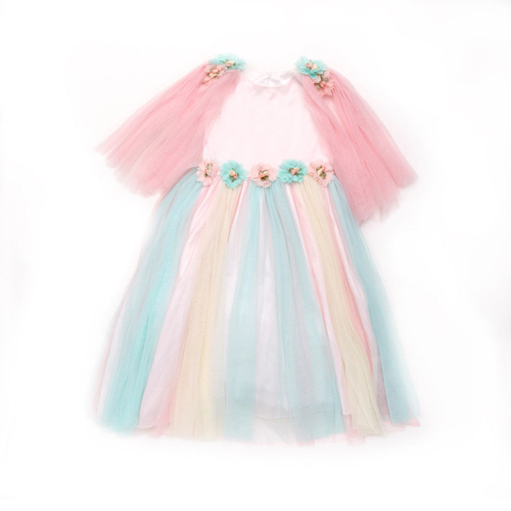 Children Summer Princess Dress Lovely Cotton Lining Rainbow Mesh Tulle Tutu Maxi Flowers Sundress for Kids Dance Party