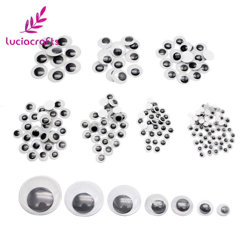 520pcs/lot Self-adhesive Mixed 6/8/10/12/15/18/20mm Eyes For Toys Dolls Googly Wiggly Eyes DIY Scrapbook Accessories 100200520