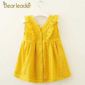 Bear Leader Girls Dresses 2018 New Summer Brand Kids Princess Dress Lace Petal Sleeve  Design  for Baby Girls 6M-5 Years