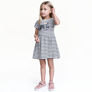 Bear Leader Girls Dress 2017 New Summer Style Brand Kids Dress Peter pan Collar Sleeveless Striped Pattern Pring for Baby Dress