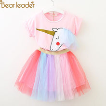 Load image into Gallery viewer, Bear Leader Girls Clothing Sets New Summer Fashion Style Cartoon Unicorn Printed T-Shirts+Net Veil Dress 2Pcs Girls Clothes Sets