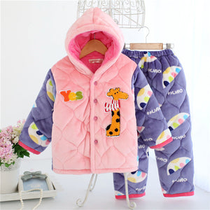 Kids pajama sets Clothing sets Thicken flannel pijamas Coral fleece sleepwear Winter quilted flannel pajamas for boys and girls