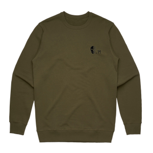 Skull   Men's 100% Cotton Embroidered Sweatshirt in Army Green / XXL by Buff Diss