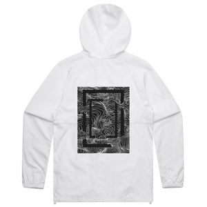 Square   Water Resistant Windbreaker in White / XXL by Buff Diss