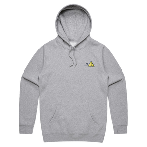 Caution   Unisex Fleece Embroidered Hoodie in Grey / XXL by Michael Pederson